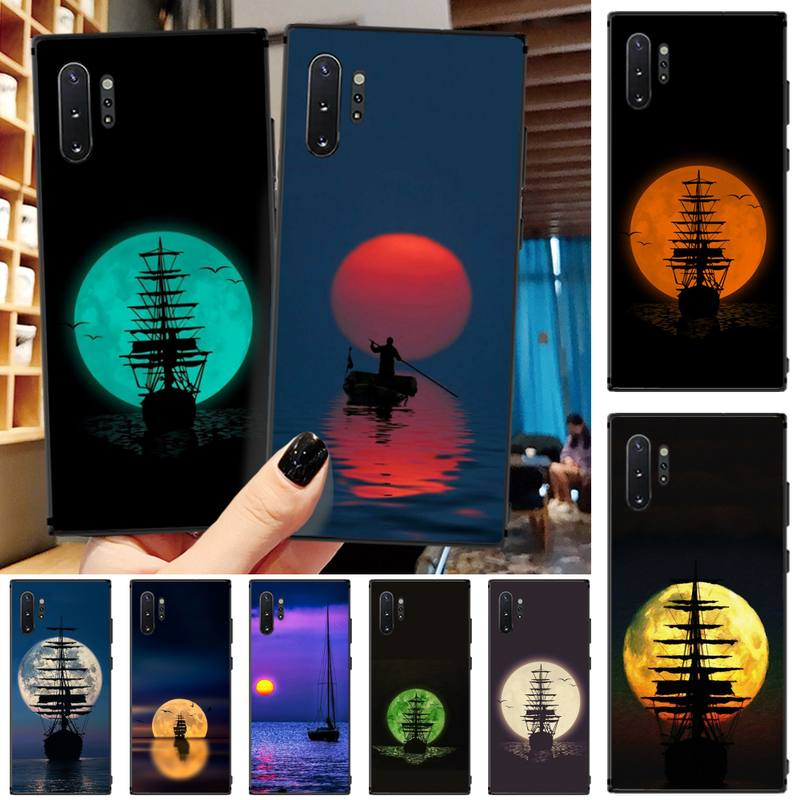 Moon Designer Ship TPU funda de teléfono negra para Samsung Note4 5 7 8 9 10 Note10 Pro M10 20 30