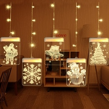 Battery Operated String Lights Christmas Lights Indoor Xmas Tree Pendants Light Santa Claus Snowflake Elk Navidad New Year Decor