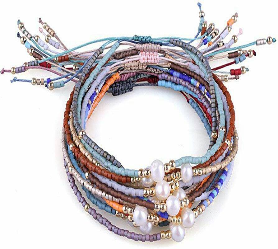 10 unids/lote Boho anillo amistad trenzado pulsera hecha a mano con cuentas Strand ajustable fina pulsera brazalete para las mujeres