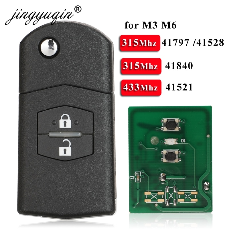 Jingyuqin 2 botón remoto Fob Flip llave de coche 315Mhz /433Mhz 4D63 para Mazda 3 M3 Axela 6 m6 Atenza 41797/41528 de 41521 a 41840