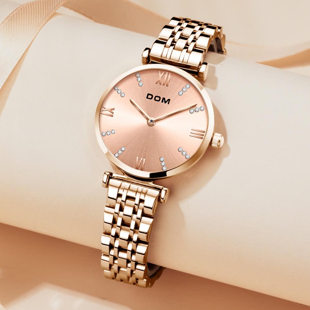 DOM Fashion luxury ladies watch diamond roman word diamond leisure waterproof swimming stainless steel strap female watch G-1341 enlarge