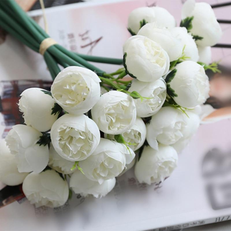27 cabeças 1 buquê de flores artificiais branco chá vermelho rosa bouquets falso flores de seda mesa casa decoração de festa de casamento