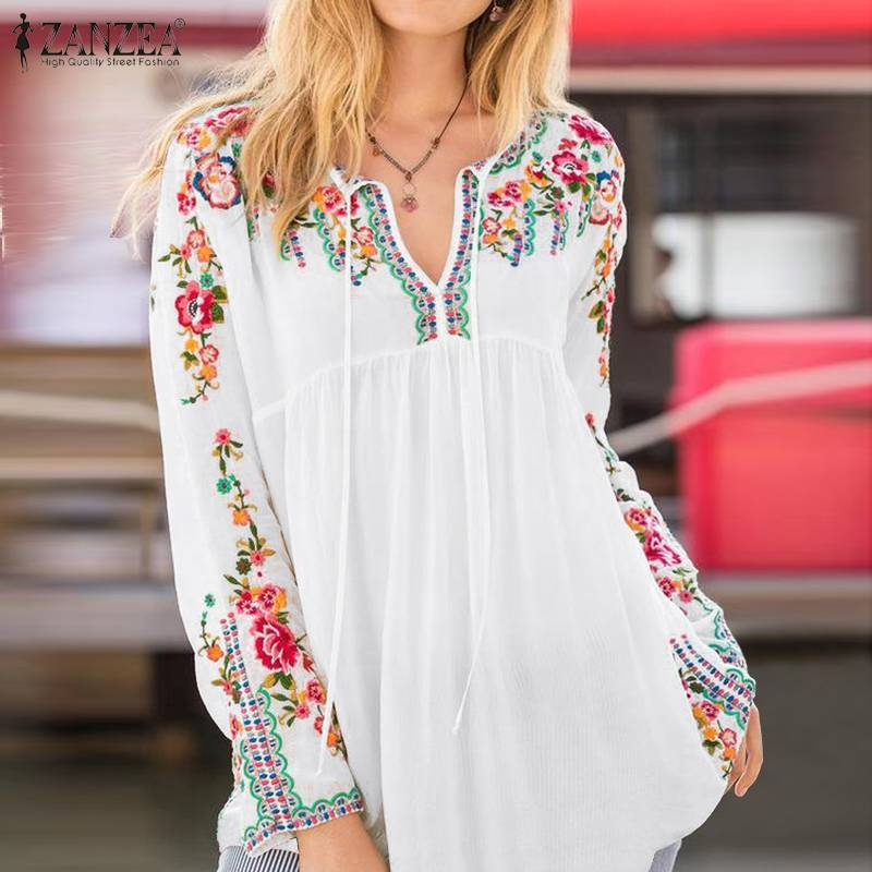 AliExpress - Bohemian Printed Tops Women's Spring Blouses ZANZEA 2021 Casual V Neck Floral Blusas Female Lace Up Chemise Plus Size Tunic