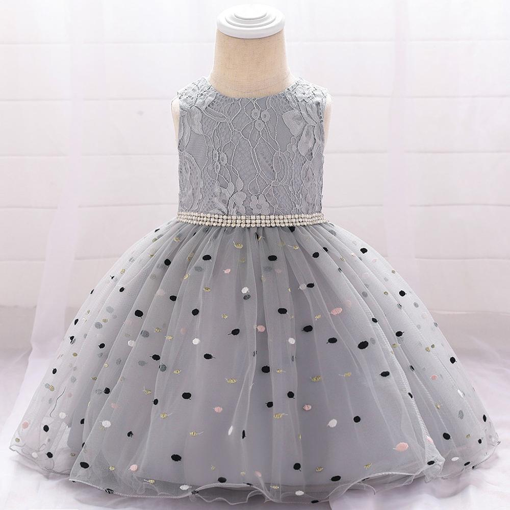 Dot print flor sem mangas vestido de renda para bebê menina tule vestido de princesa menina dama de honra pageant vestido de festa de aniversário # b2