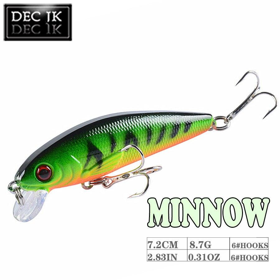 Minnow laser crankbait isca de pesca equipamento com ganchos agudos isca artificial duro 7.2cm 8.7g 3d-eyes pike flutuante wobbler 1 pçs