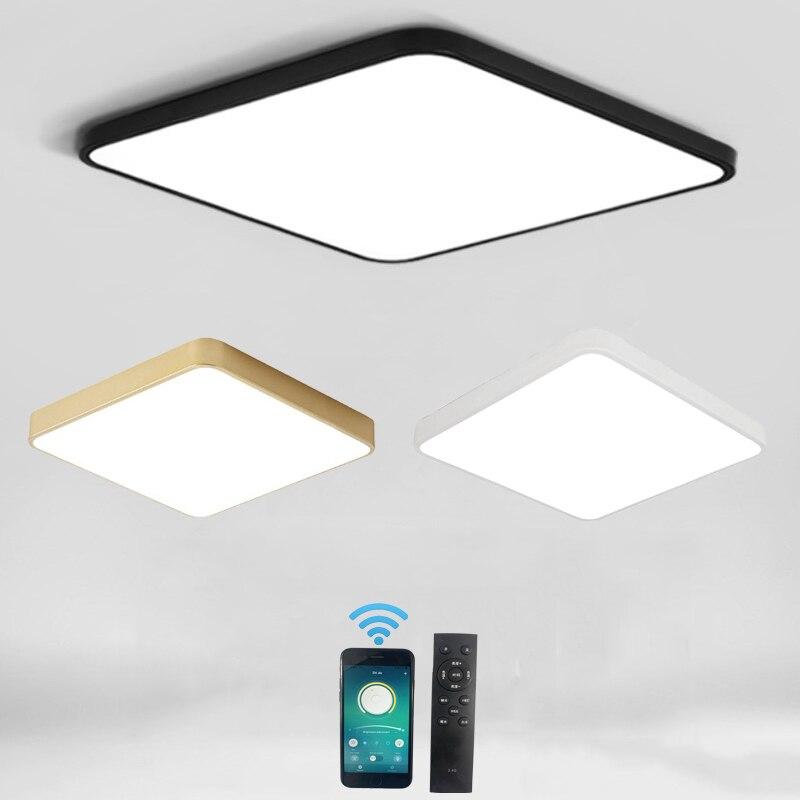 ouro preto branco ultra fino 5cm led luz de teto criativo quadrado superficie montado
