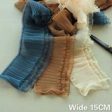 Jupe pelucheuse en mousseline de soie 3D   15CM de large, trois couches, dentelle plissée 3D, petite vague à volants, garniture de ruban brodée, fournitures de couture, bricolage