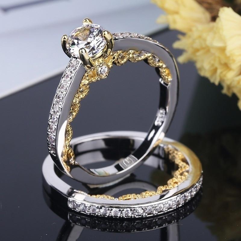 2 Pcs/set Women Crystal Round Ring Set Brand Luxury Promise Engagement Lover Alliance Bridal Wedding Rings For Lady Size 5-12