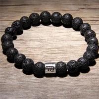 men 12 constellations zodiac natural volcanic lava stone beads diffuser charm bracelet man woman jewelry black lava bracelets