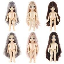 Poupée BJD 16 Cm 1 ensemble = tête avec poils colorés + corps avec 13 articulations mobiles + yeux 3D pour fille garçon poupée nue génération jouet pour fille
