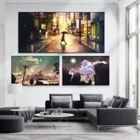 Abstrait toile peinture a lhuile pluie nuit rue vue coucher de soleil paysage peinture salon bureau couloir decoration murale