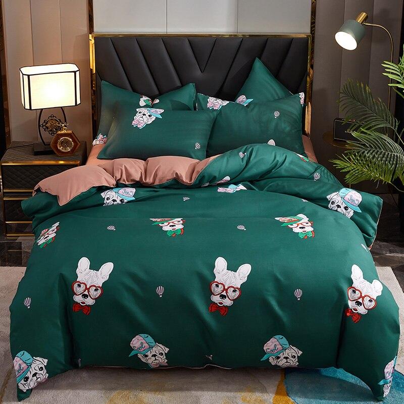 Hot البيع 4 قطعة الفراش ، أربعة مواسم المتاحة غطاء لحاف ، الكرتون غطاء سرير ، المخدة * 2 ، ورقة السرير قبعة سرير ملكة