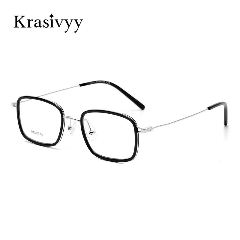 Krasivyy مربع النظارات الإطار الرجال عالية الجودة النظارات البصرية إطارات للنساء الكورية وصفة النظارات التيتانيوم