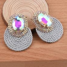 New Shiny Colorful Round Earrings Rhinestone Handmade Round Cotton Rope Drop Earring Fashion Jewelry