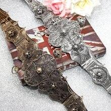 SUNSPICE Old Gold Caucasus Women Dress Belt Relief Pattern Retro Silver Color Metal Waist Chain Slavs Roubach Belt Jewelry Gift