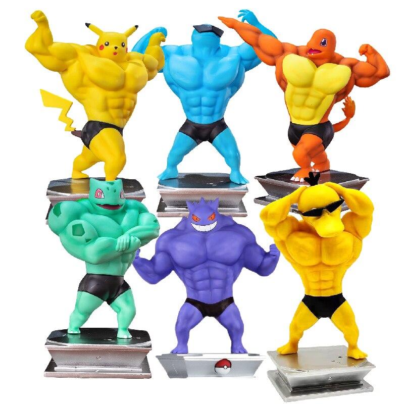 Оригинальные фигурки покемонов, фигурки Пикачу, экшн-фигурки в стиле психоутки, игрушка для бодибилдинга, забавная модель покемона для мышц