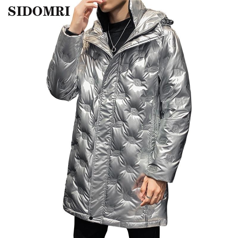 Зимняя мужская яркая куртка с капюшоном Толстая и теплая длинная Мужская зимняя одежда на белом утином пуху 50