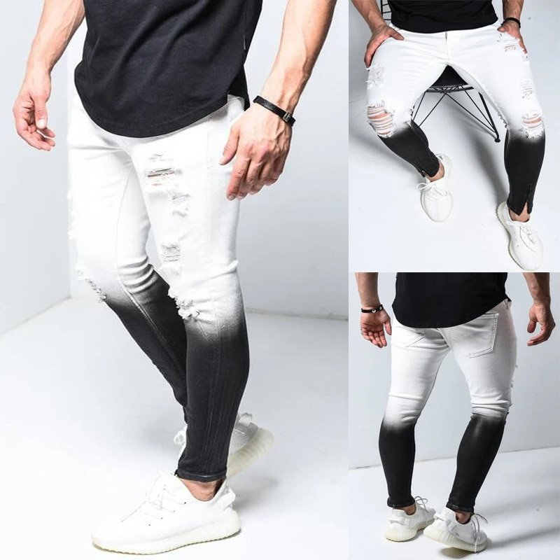 Модные градиентные черные и белые мужские джинсы, Узкие рваные джинсовые брюки-карандаш, мужские облегающие джинсы в стиле хип-хоп