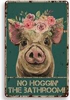 Citation drole de salle de bain en metal  signe en etain  decor mural Vintage  Hello Sweet Cheeks Pig  pour bureau  maison  salle de classe