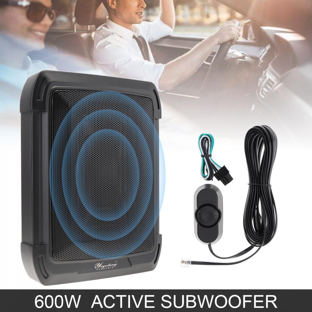 10 Inch 600W Slim Car Audio Active Car Subwoofer Under Seat Speaker Bass Stereo Speaker Low Distortion Amplifier