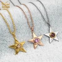 aniid pentagram pendants necklace woman crystal stones star korea stainless steel jewelry for women choker neck chain rhinestone
