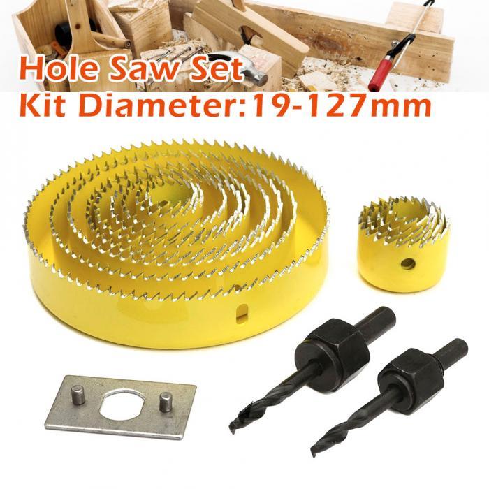 16 Uds Kit de sierras perforadoras 13 de acero al carbono 19-127mm herramienta de corte de balancín de Metal para trabajar la madera SDF-SHIP