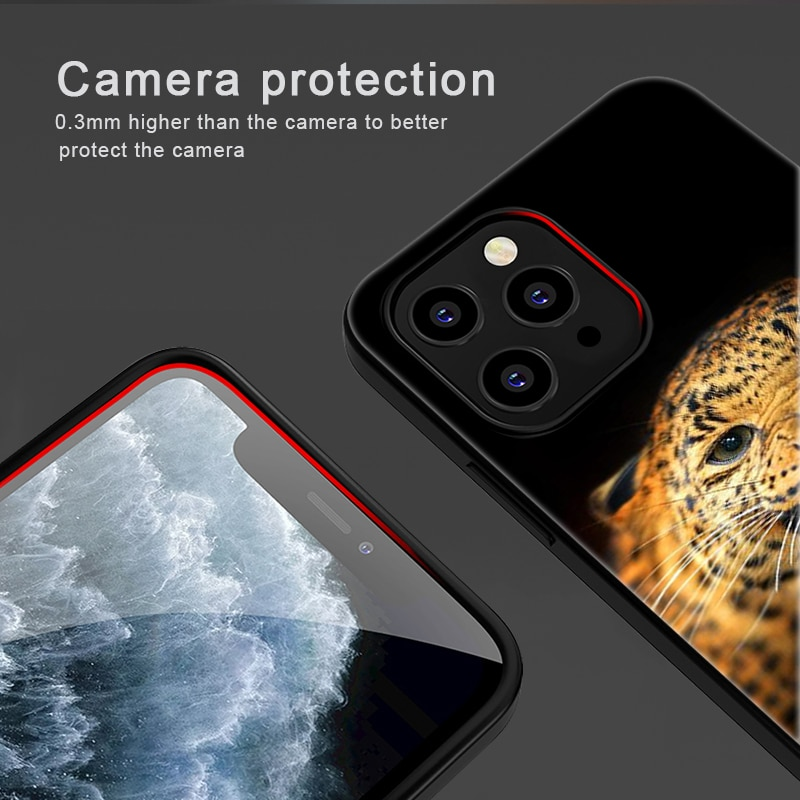 Luxury Animal Tiger Case for IPhone 12 Pro Max Case for IPhone 11 12 Pro XR XS Max Mini 7 X 8 6 6S Plus 5 SE 2020 Black Silicone