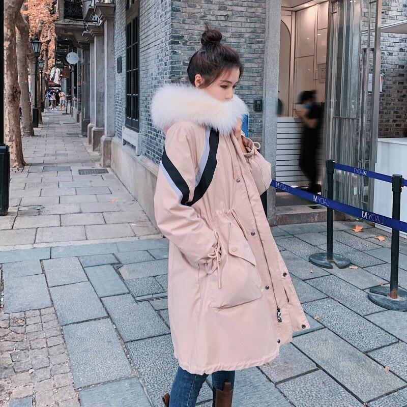 الشتاء سترة نسائية مقنعين ضرب اللون Thic الأدوات الجديدة طويلة الأكمام القطن الكورية فضفاضة أرنب غير رسمي كبير معطف بياقة من الفرو الإناث