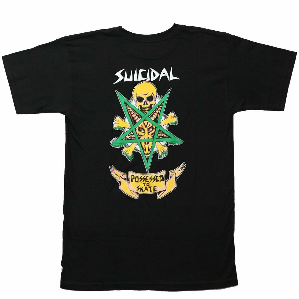 Dogtown tendencias suicida poseído para patinar para hombres camiseta de hombre negro único de algodón de manga corta Camiseta de cuello redondo