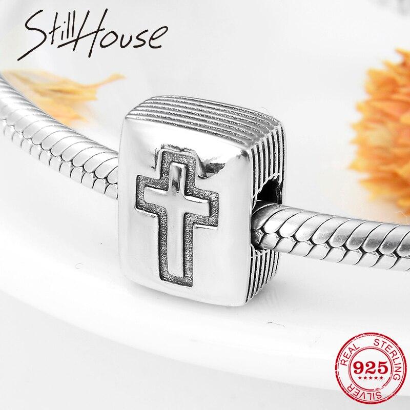 Cuentas de plata de ley 925 corss a la moda para DIY, pulsera con abalorio europeo Original, fabricación de joyas