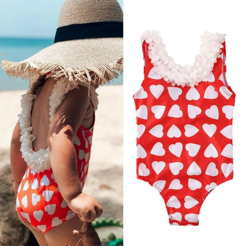 Bañador de moda para bebés y niños pequeños, Bañador estampado con Corazón Floral, traje de baño, conjuntos de playa para verano
