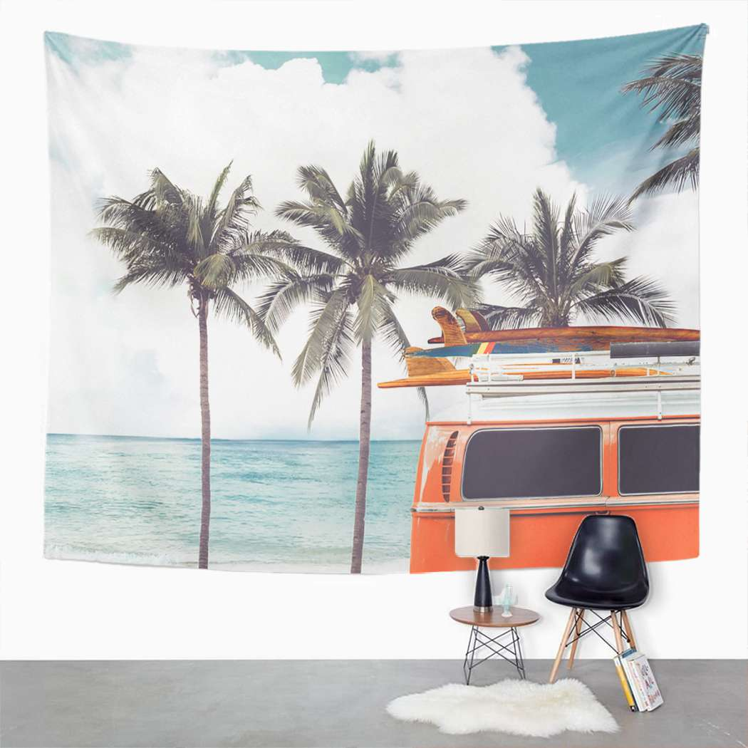 Camper Tapestry Vintage Tropical Tapestry For Bedroom Room Decor Wall Hanging Wall Art Tapestry Picnic Mat Beach Towel Bed Cover
