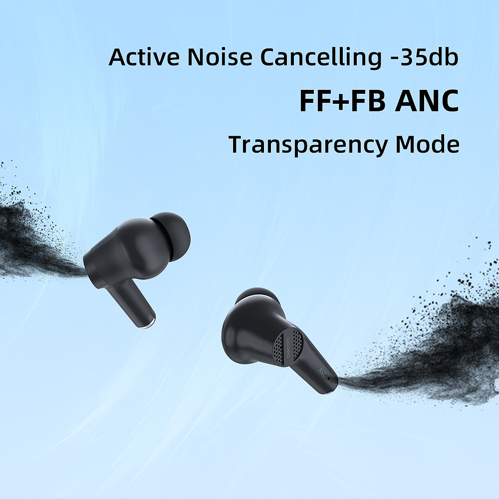 DACOM TinyPods ANC Active Noise Cancelling Earphones Wireless Headphones AAC Bluetooth Earbuds Bass enlarge