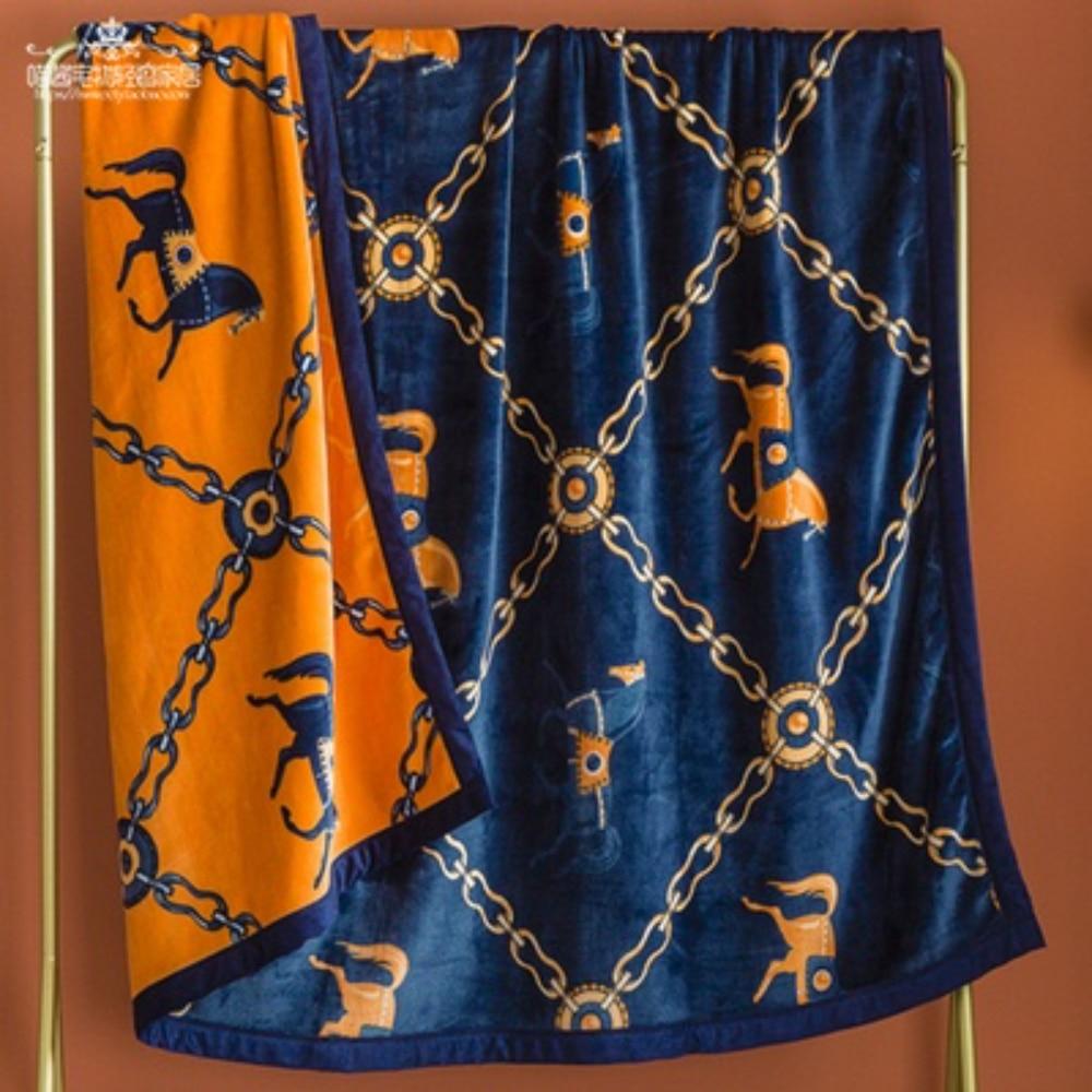 بطانية فاخرة مطبوعة على الوجهين سميكة راشيل الفانيلا المرجان الصوف بطانية رمي البطانيات للأسرة الشتاء الأريكة
