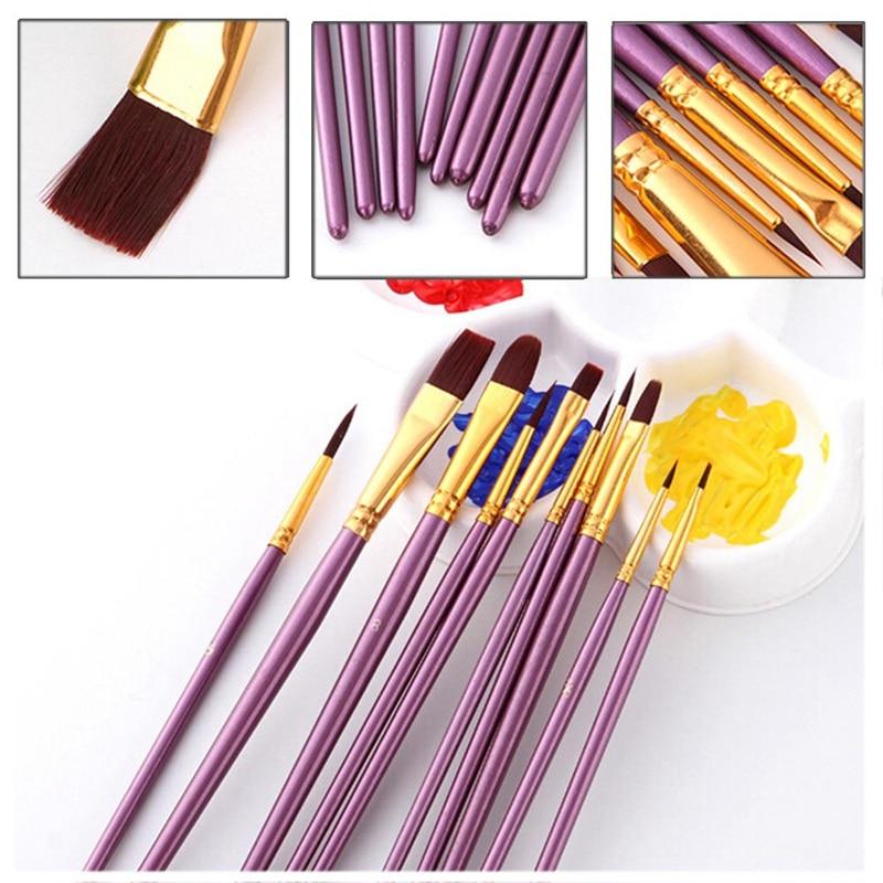 10 unids/lote tamaño diferente artista bien pincel de pintura con cerdas de nailon de acuarela acrílico pinceles para pintura al óleo de arte dibujo suministrar