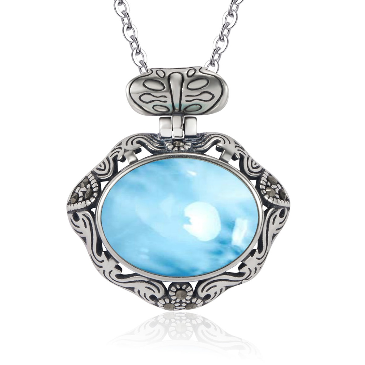 Silver Larimar Jewelry High Quality Oval Cut 12x16mm Natural Larimar Pendant Necklace