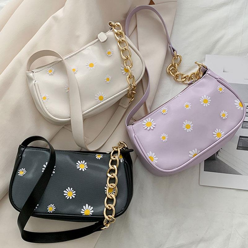 Daisy-bolso de mano de piel sintética con cadena para mujer, bolsa de...