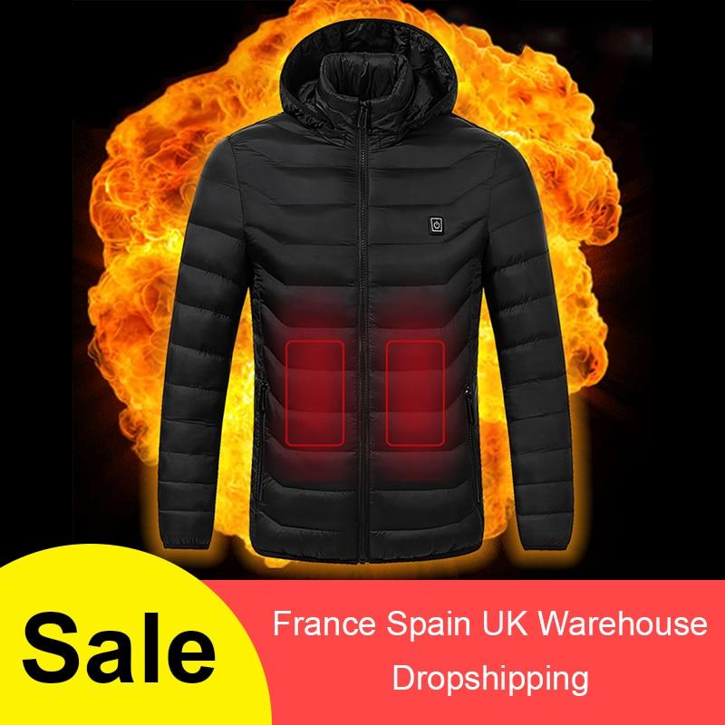 Hombres Mujeres chaquetas calientes chaleco al aire libre abrigo batería eléctrica USB de manga larga chaquetas con capucha de calefacción ropa térmica de invierno cálido