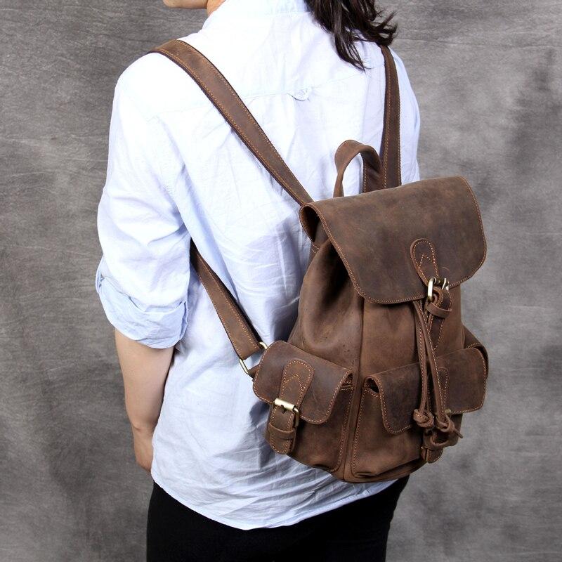حقيبة ظهر جلدية كريزي هورس كلاسيكية للنساء ، حقيبة مدرسية للمراهقات ، حقيبة ظهر للكمبيوتر المحمول ، حقيبة كتف للسفر