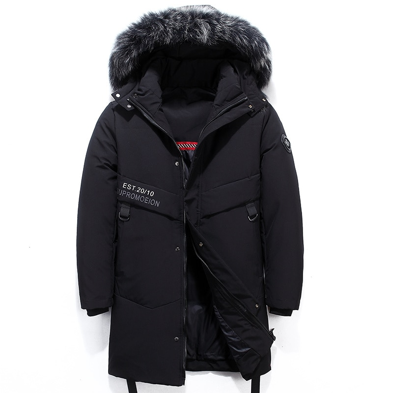 -30 Degree Winter Warm Down Jacket Men Casual Windproof Thick Hooded Parkas Men Solid Fashion Cargo Windbreaker Coat Mens