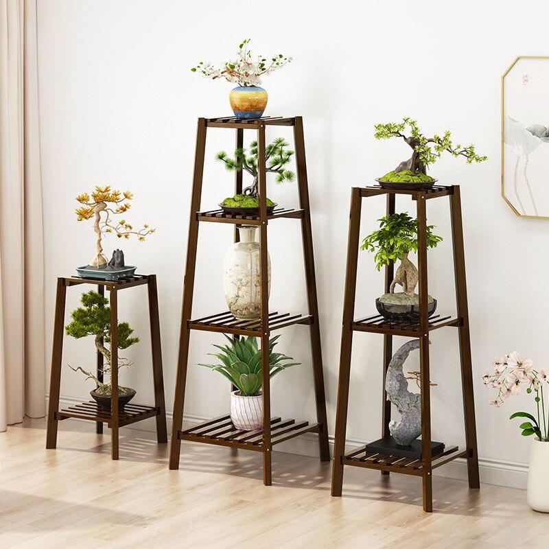 Indoor Solid Wood Flower Pot Rack Multi-Layer Floor-Standing Flower Plant Potted Plant Shelf Balcony Living Room Landscape Decor недорого