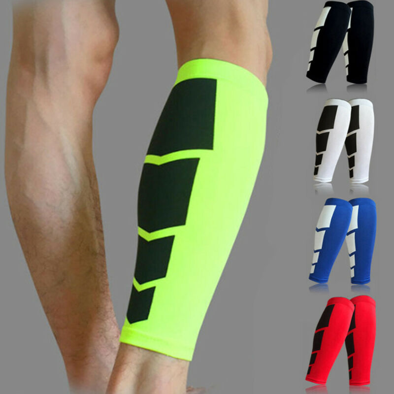 1 par men compressão ciclismo leggings corrida leggings leggings esportes futebol basquete manga perna de fitness futebol shinguard