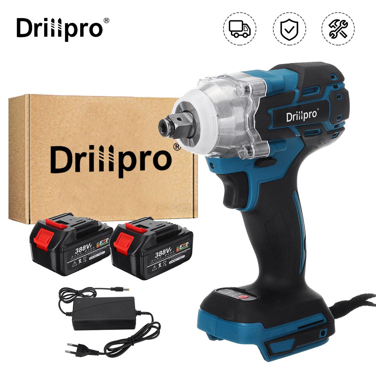 Drillpro 388VF 520N.M فرش لاسلكي مفتاح برغي كهربائي أدوات كهربائية 3000mAh لي إضاءة ليد للبطارية لماكيتا 18 فولت
