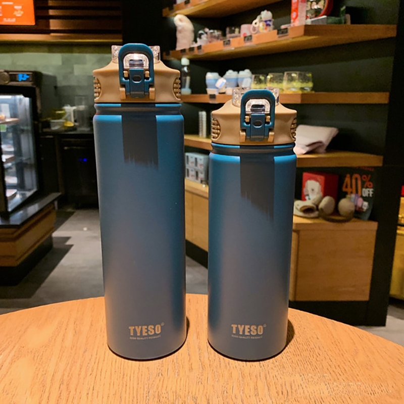 530/750Ml Thermos Mug With Straw Stainless Steel  Lid Thermal Insulation Straight Cup Thermal Water Bottle Tumbler Thermocup