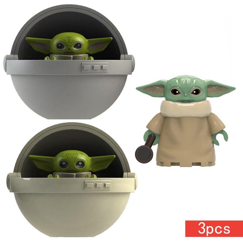 1pcs Star Spcae Wars 8 Last Baby Force Awakens Mandalorian Starwars Mini Building Blocks Bricks Figures