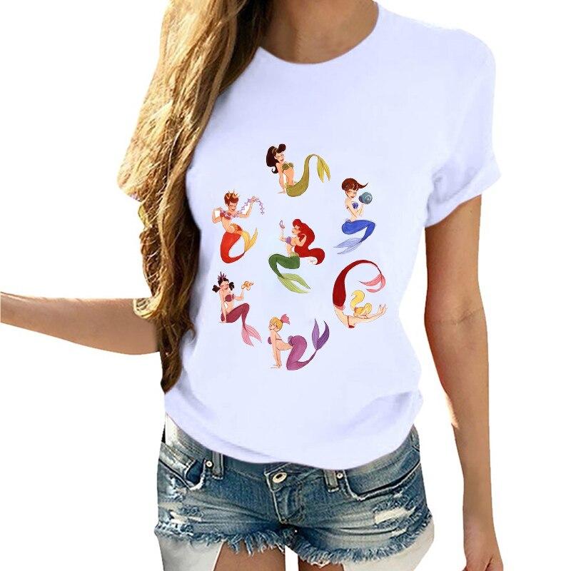 Women Cartoon Flower Cartoon Mermaid Princess Clothing Summer Vogue T-Shirt Shirt Camisas Mujer Tumblr Tee Female T Shirt Tees