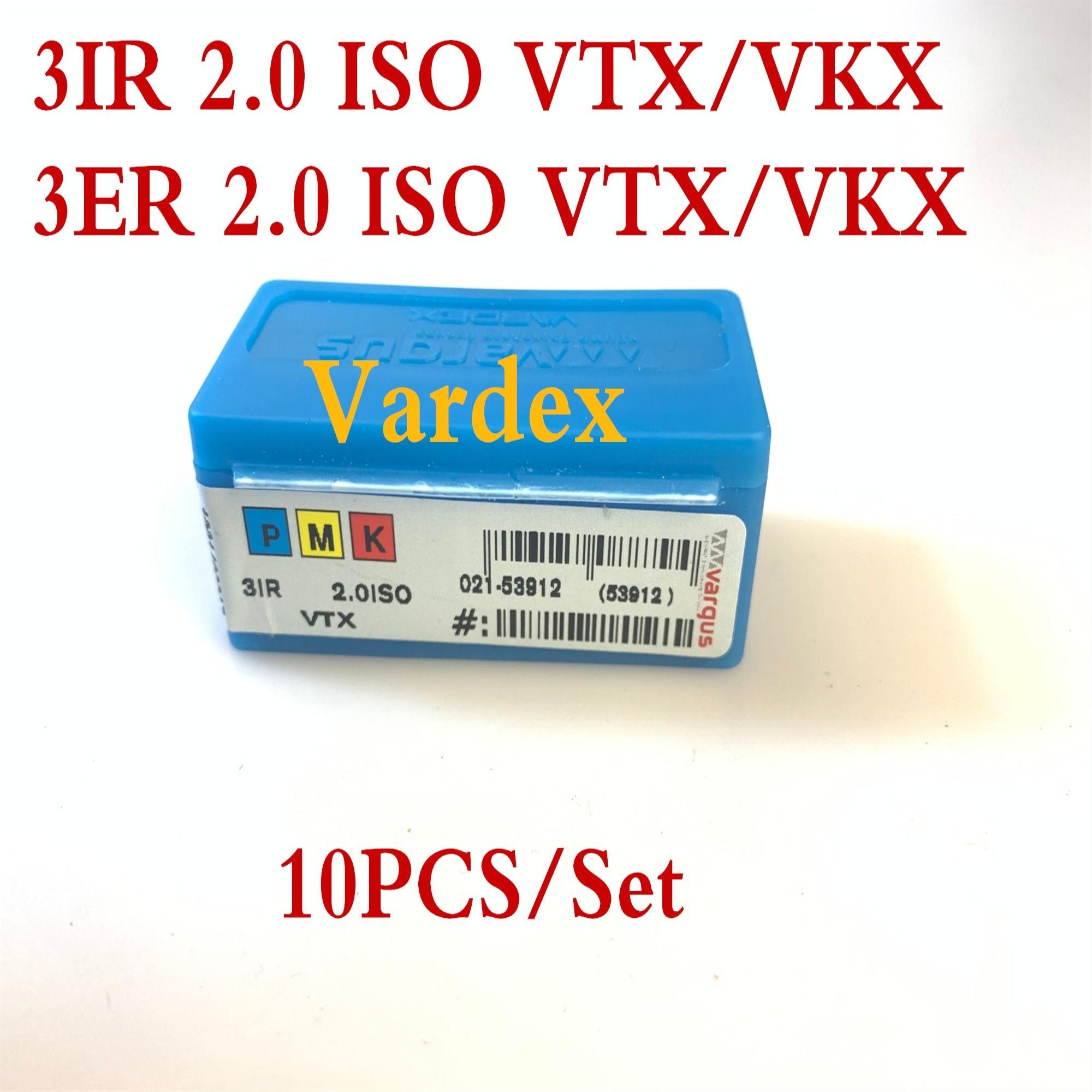 3ER ISO 2,0 VTX/VKX 3IR ISO 2,0 VTX/VKX 10 unids/set Vardex roscado inserto de carburo de procesamiento acero inoxidable y acero