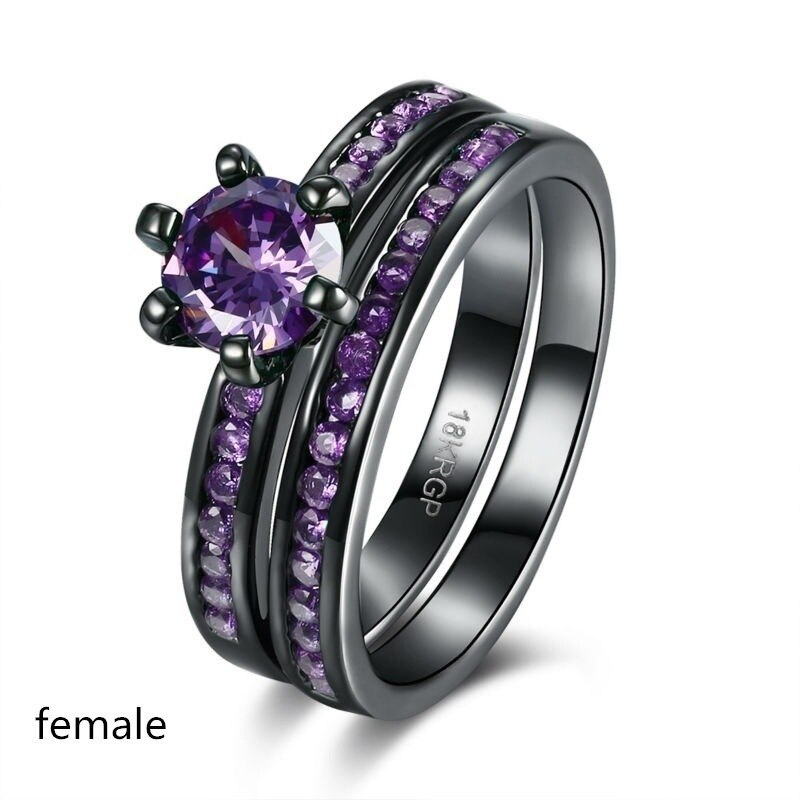 Anillo encantador de amantes de la moda, anillo de mujer de arcoíris a la moda, conjunto de anillos de Zirconia púrpura bonitos para mujer, anillo de boda, regalo de amor