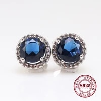 hot original 925 sterling silver earrings transparent shine blue shine crown round earring for women gift jewelry