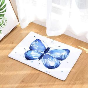 Чехол с изображением синей бабочки дверьных ковриков, оригинальный прочный фланелевый дверной коврик, коврик для автомобиля/в помещении/на открытом воздухе коврик, подлежат стирке, для сада, офиса, дверной коврик